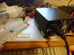 ATX power supply and breadboard
